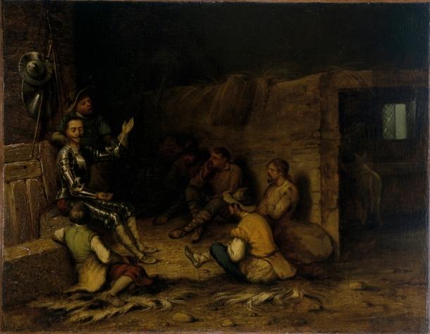 Don Quijote pronunciando el discurso de la Edad de Oro delante de los cabreros  Anónimo